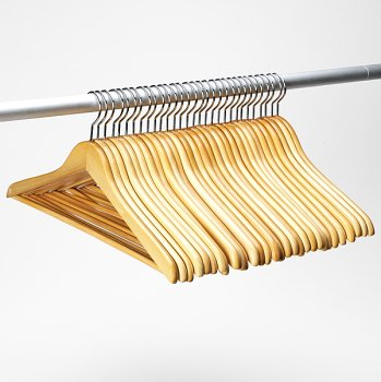 natural wood hangers with bar 30pk