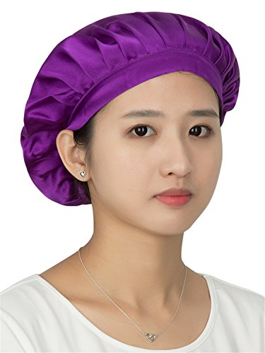 LITHER Natural Silk Sleep Night Cap Head Cover Bonnet for Hair Beauty,Deep Purple,One - Hair And Glasses Natural