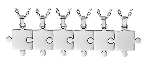 Puzzle Necklace 6 Piece Best Friends - Women Men Stainless Steel Pendant Silver Tone Jewelry Gift (Friends 6 Piece)