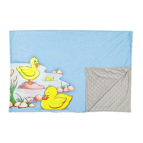 SooRoo Kids Soft Cozy Minky Newborn Baby Blanket Duck Awake/Duck Asleep [chooose Color] (Blue New Edition)