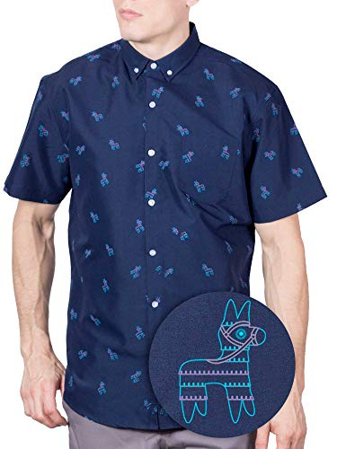 Visive Hawaiian Shirt Short Sleeve Button Down Up Shirts for Mens Navy Pony,X-Large