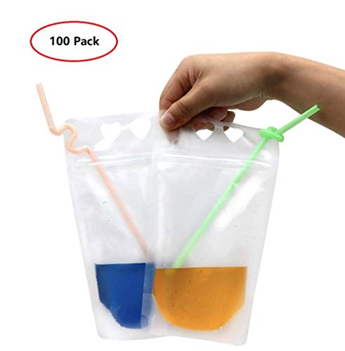 Heart Pouch - BaoBae 100PCS Translucent Plastic Drink Pouches 17oz Heart-Shaped Hand-held Hole Frosted Liquid Holder Bags with Straws