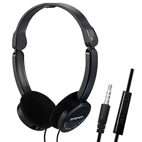 Wired Headphone On Ear Headphones Portable Folding Headset Noise Cancelling Stereo Earpiece 3.5mm Jack Headband Bass Earphones with Mic for Men Women Children Kids Boys Girls Cell Phones Computer PC