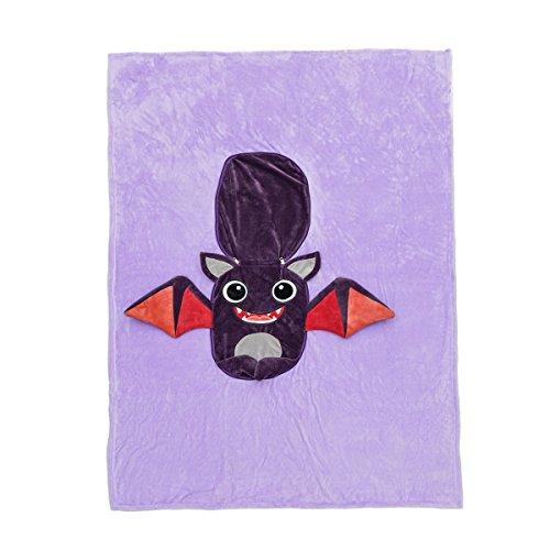Senmiya Bat Blanket Stuffed Animal Cute Throw Blanket Fuzzy Cuddle Pillow Pet Navy Blue Travel Nap Blanket, Packable, Plush, Portable Back Buddy Pillow for Kids by Senmiya (Image #3)