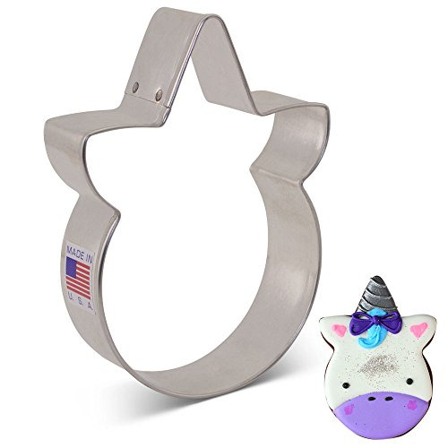Unicorn Face Cookie Cutter by LilaLoa - 3.88 Inch - Ann Clark - US Tin Plated Steel