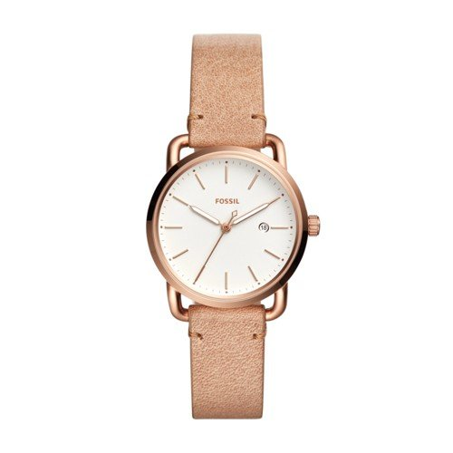 Fossil Women's 'Commuter' Quartz Stainless Steel and Leather Casual Watch, Color:Beige (Model: ES4335)