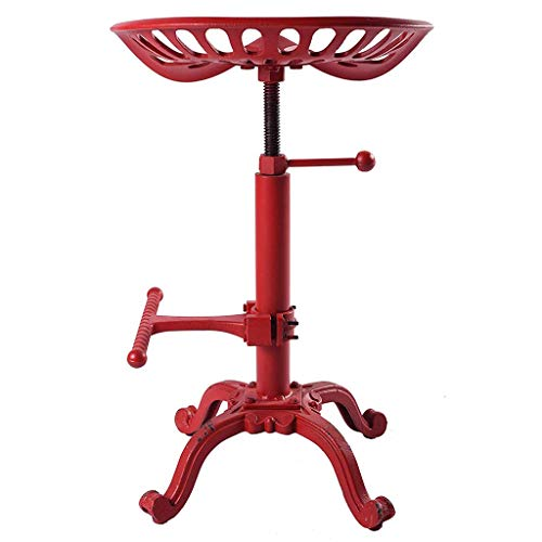 ZHAOYONGLI-Stools Footstools Vintage Industrial Bar Stools Cast Iron Stool Adjustable Height Swivel Seat Breakfast Chair (Color : Red, Size : 44x30.5x55cm)