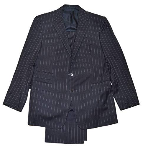 (Ralph Lauren Purple Label Mens Dress Suit Black Stripe Cashmere Wool Italy 42/40)
