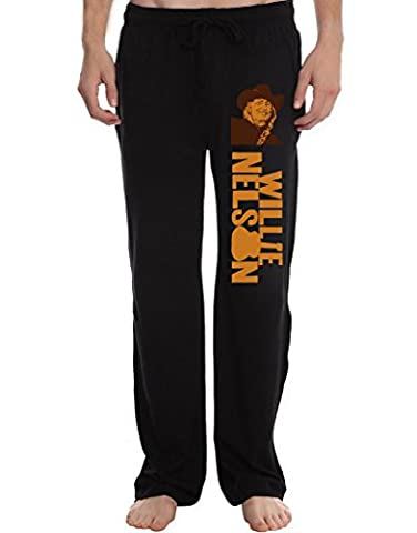 XJX Men's Willie Nelson Lounge Pajama Pants XL Black (Willie Nelson Patch)