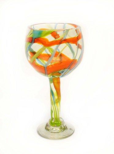SET OF 4, ORANGE, AQUA AND LIME SWIRL BEAUJOLAIS STYLE WINE GLASSES-14 OUNCES. RECYCLED GLASS. HANDMADE