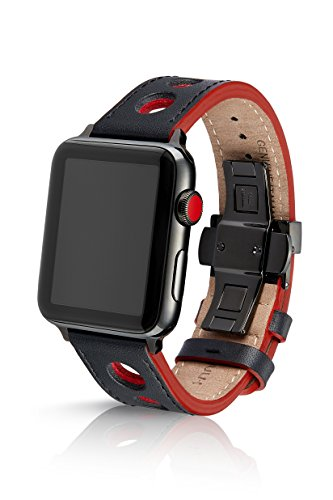 nyx Premium Watch Band Made for The Apple Watch, Made with Genuine Italian Leather with a Solid Stainless Steel deployant Buckle (Black Components) ()