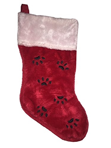 15 Inch Paw Prints Plush Christmas Stocking - Red, Black, White for Cat or Dog