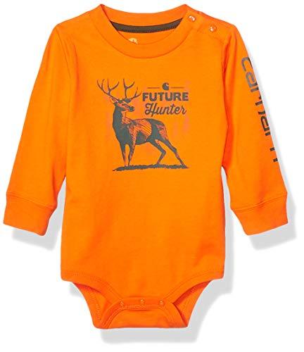 Carhartt Baby Boys Long Sleeve Bodyshirt, Deer Orange, 6M