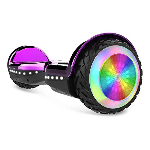 HYPER GOGO Hoverboard, Off Road All Terrain Hoverboards with Bluetooth Speaker, Colorful LED Light Wheels, UL Certified,6.5 inches Self Balancing Scooter,Purple