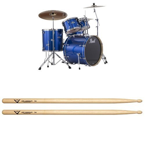 Blue Sparkle Drumsticks - Pearl EXX725S/C 5-Piece Export New Fusion Drum Set with Hardware - Electric Blue Sparkle(cymbals not included) with Drum Sticks, Pair