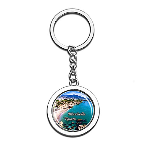 Marbella Spain 3D Crystal Creative Keychain Spinning Round Stainless Steel Key Chain Ring Travel City Souvenir Collection