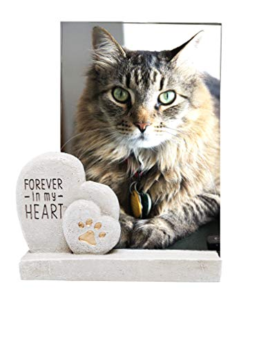 The Neko Cafe Gift Sets Forever in My Heart Dog Cat Pet Memorial Photo Frame for 4 x 6 Inch Photo ()