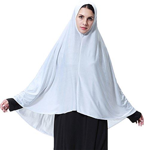 Ababalaya Women's Elegant Modest Muslim Islamic Ramadan Soft Lightweight Jersey Hijab Long Scarf,White,XL