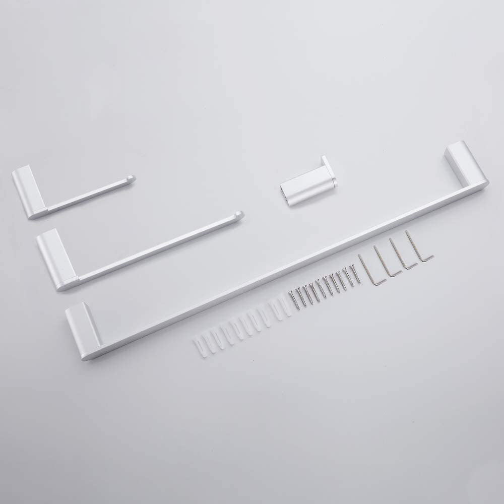 GERUIKE Portasciugamani Set di Accessori da Bagno 4 Pezzi 40 cm Alluminio Portasciugamani WC Anello portasciugamani Wall Portarotolo Portasciugamani Attaccapanni Argento