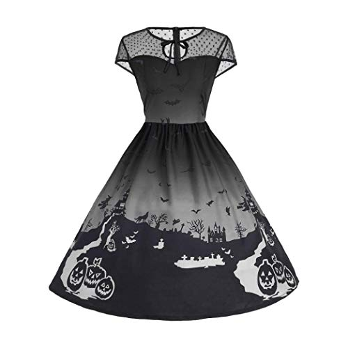 DEATU Ladies Halloween Dress, Teen Girls Womens Pumpkin Patchwork Printed Vintage Gown Party Swing Dress(A-Black ,XL)
