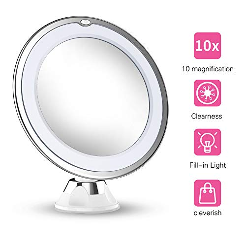(Updated 2019 Version 10X Magnifying Makeup Vanity Mirror With Lights, LED Lighted Portable Hand Cosmetic Magnification Light up Mirrors for Home Tabletop Bathroom Shower Travel)