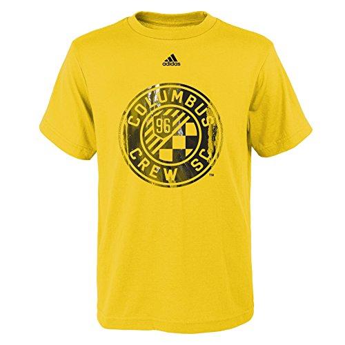 fan products of MLS Columbus Crew Boys -War Paint Logo Short sleeve Tee, Sun, Large (14-16)