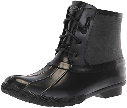 Sperry Top-Sider Women's Saltwater Rubber Flooded Rain Boot Black