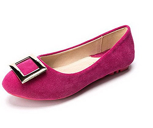 AalarDom Womens No-Heel Pull-On Frosted Round-Toe Pumps-Shoes Rosered-buckle wM9fuCI