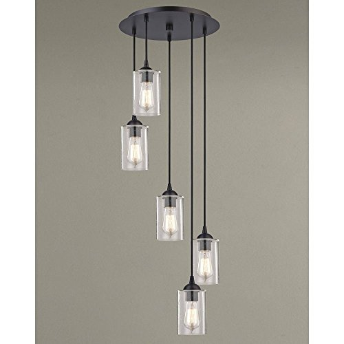 Classic Five Light Pendant - Seeded Glass Multi-Light Pendant Bronze 5 Lt