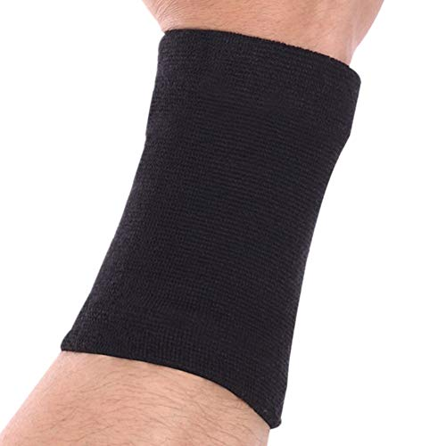 Bamboo Wrist Sweatband Support by Mcolics (Pair) - Antimicrobial Wristband / Sweatband - Best Compression Wrist Wrap for Arthritis, Tendonitis, Carpal Tunnel Syndrome, Tennis - Wrist Sweatband Black