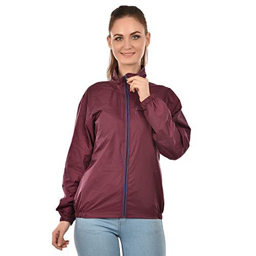 BURDY Women #39;s Solid Windcheater Jacket  KLCWS 11WINE_XXL_Maroon_XX Large