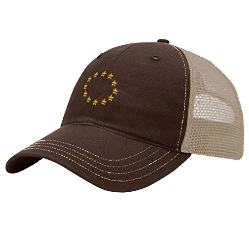 Trucker Hat Richardson European Union Seal Embroidery Country Name Cotton Soft Mesh Cap Snaps - Brown/Khaki, Design Only