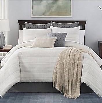 Bridge Street Landon Queen 7 Pc Bedding Comforter Set In White Grey Beige