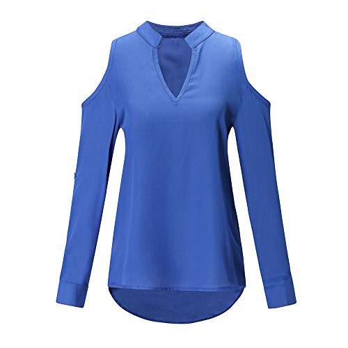 Dnudes Uni Bleu Longues Chemisier Manches Bringbring V Dames Casual Tops paules Cou Femmes Chemise FqIpgg