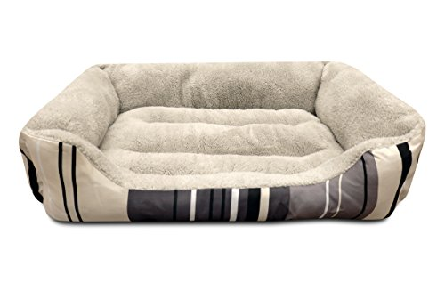 ASPCA Microtech Striped Dog Bed Cuddler, 28 by 18 by 8-Inch,