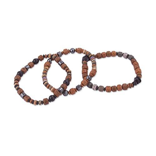 NOVICA Multi-Gem Onyx Beaded Bracelet 'Inca Bliss' (Set of 3)