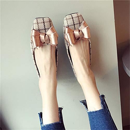 de Las Trabajo señoras Moda de Baja Zapatos 40 UE EU de Plaid 38 y Embarazadas Zapatos FLYRCX Bow Boca otoño de Solo Primavera Zapatos Mujeres Oficina Planos Las de RHwxSq6