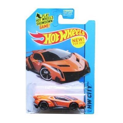 2014 Hot Wheels Hw City Lamborghini Veneno (Orange): Toys & Games