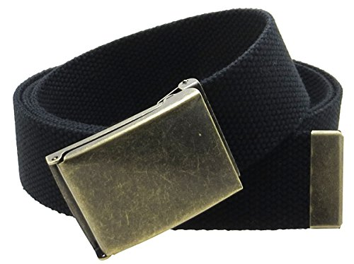 Canvas Web Belt Flip-Top Antique Brass Buckle/Tip Solid Color 50