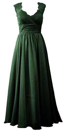 MACloth Women Vintage Long Bridesmaid Dress V Neck Lace Formal Evening Gown (16w, Dark Green)