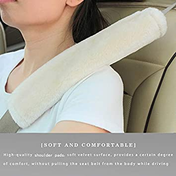 2 Pack Soft Faux Sheepskin Car Seat Belt Cover Seat Belt Shoulder Pad Strap Neck Cushion Protector for Kids and Adults Red