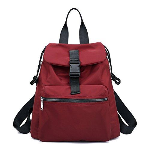 Shoulder Casual Waterproof Rucksack Drawstring Bag Red Women Backpack Travel Top Handle qFHAxBP