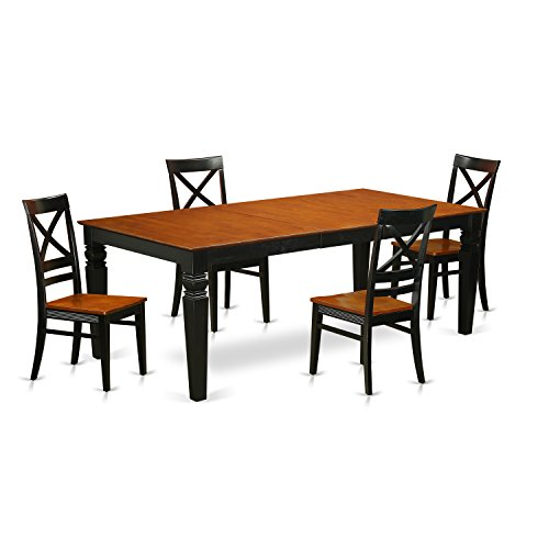 East West Furniture LGQU5-BCH-W 5 Piece Table Set with One Logan Dining room Table and Four Dining room Chairs in Black & Cherry Finish