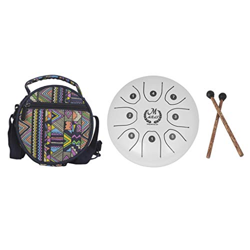 B Blesiya Mini 8 Note Handpan Tongue Drum Drum Mallets Bag for Children Gift 5.5inch – White