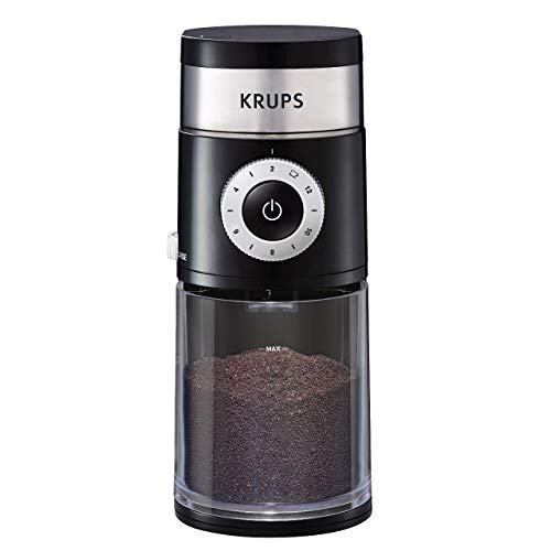 KRUPS GX550850 Precision Grinder Flat Burr Coffee for Drip/Espresso/PourOver/ColdBrew, 12 cup, Black (Renewed)