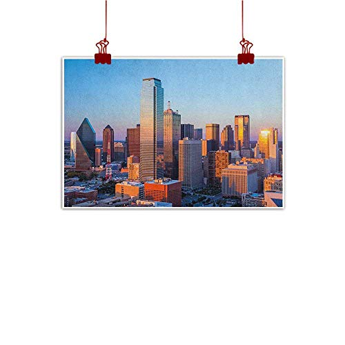 Fabric Cloth Rolled United States,Dallas Texas City with Blue Sky at Sunset Metropolitan Finance Urban Center, Multicolor 24