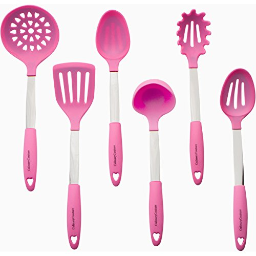 Culinary Couture Stainless Steel and Silicone Cooking Utensil Set with Ebook - Light Pink