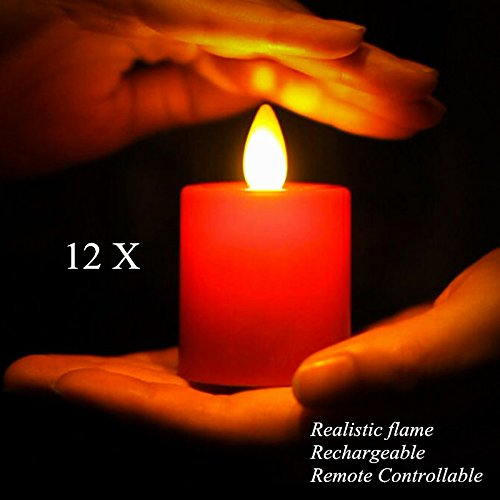 Pack of 12 Rechargeable Votives Moving Flame Flameless LED Tealight Candles with Remote Control and Timer by NONNO&ZGF