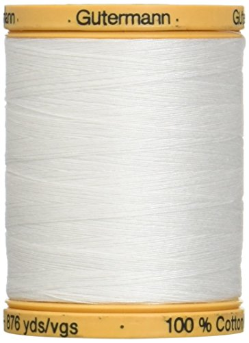 Gutermann 25049 Natural Cotton Thread Solids 876 Yards-White -