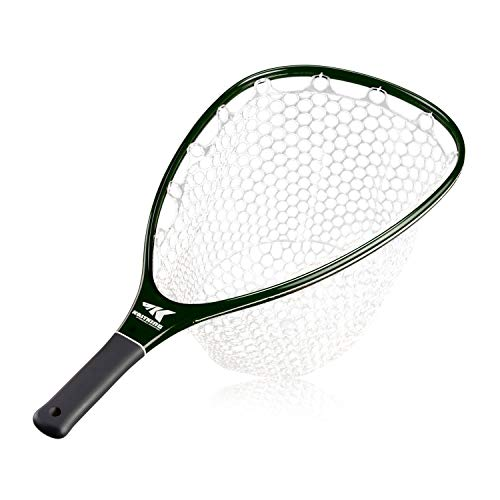 KastKing Blackfoot Fly Fishing Landing Net, Lightweight Carbon Frame, Beautiful Transparent Green Finish, Soft Rubber Catch & Release Net Bag, Non-Slip Handle. (M)